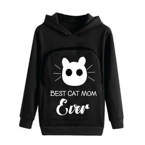 Cat Lovers Hoodie Cuddle Pouch ( Best Cat Mom Ever)