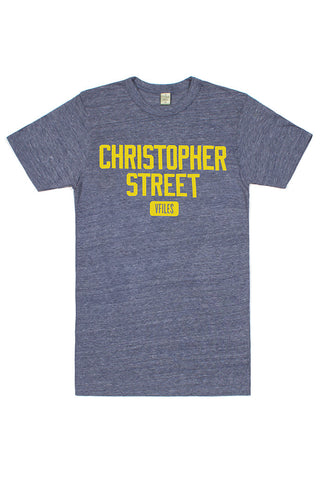 Christopher Street Tee in Navy/Yellow