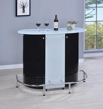 Load image into Gallery viewer, Contemporary Black and Chrome Bar Unit with Frosted Glass Top