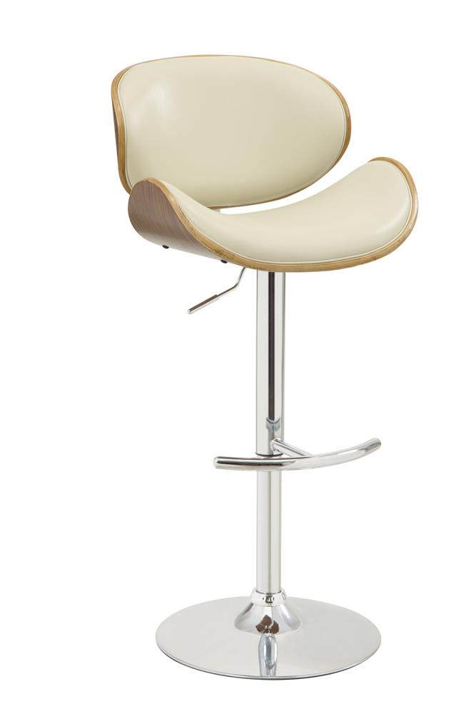 Contemporary Cream Adjustable Height Bar Stool