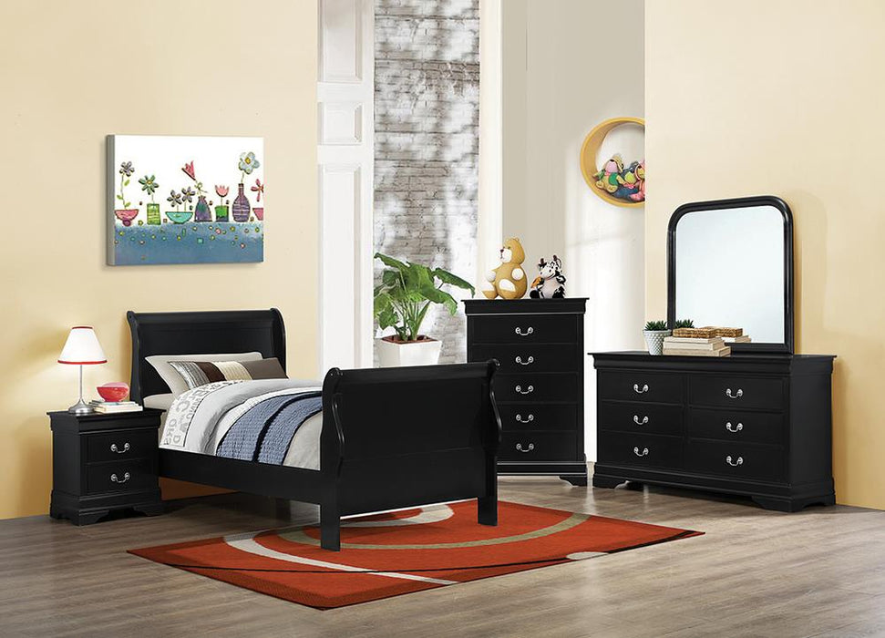 Louis Philippe Traditional Black Sleigh Twin Bed image