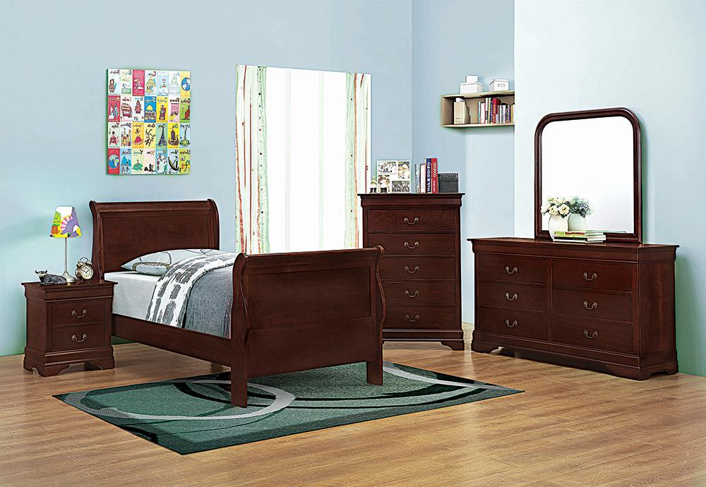 Louis Philippe Traditional Red Brown Sleigh Twin Bed image