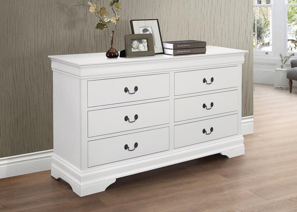 Louis Philippe White Six-Drawer Dresser image