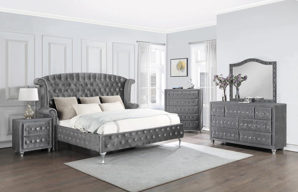 Deanna Bedroom Traditional Metallic Queen Five-Piece Set image