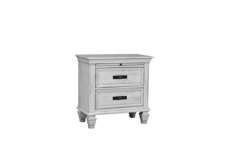 Franco Antique White Two-Drawer Nightstand With Tray