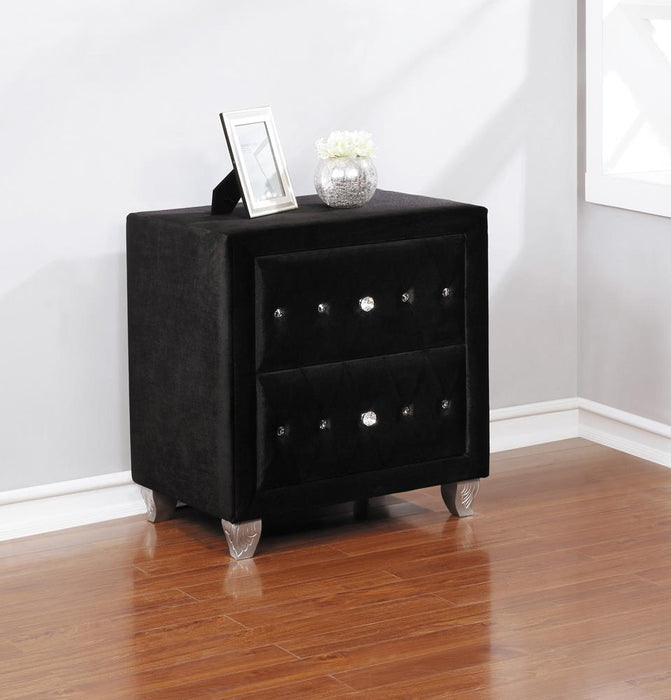 Deanna Contemporary Black and Metallic Nightstand image