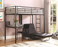 Load image into Gallery viewer, Contemporary Metal Loft Bunk Bed With Desk