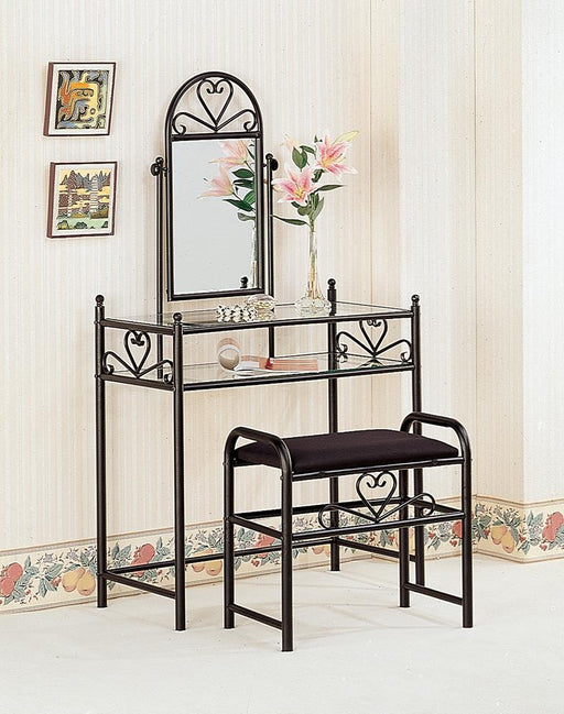 Traditional Black Vanity With Glass Top and Fabric Stool image