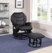 Load image into Gallery viewer, Upholstered Casual Black Swivel Glider and Ottoman
