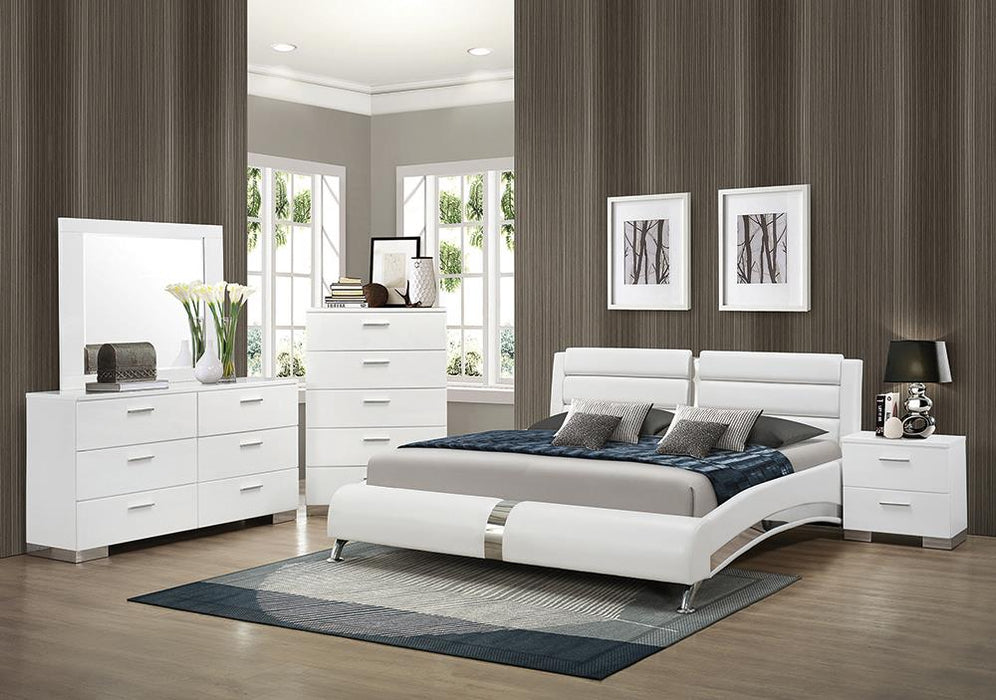 Felicity Contemporary White Eastern King Five-Piece Set image