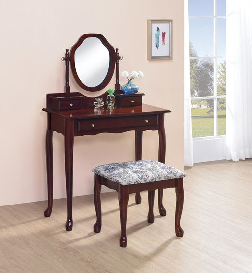 Traditional Brown-Red Vanity Set image