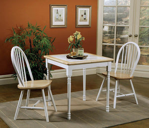 Country Natural Brown Dining Table with White Tile Top