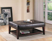 Load image into Gallery viewer, Transitional Cappuccino Button Tufted Ottoman