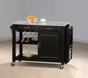 Black Kitchen Cart With Granite Top