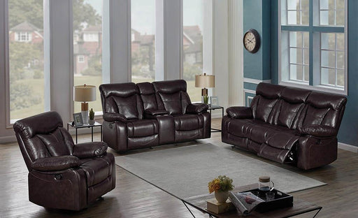 Zimmerman Dark Brown Faux Leather Three-Piece Living Room Set image