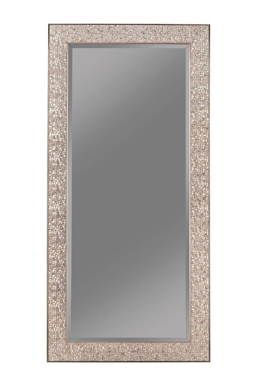 Transitional Silver Mosaic Rectangular Mirror image