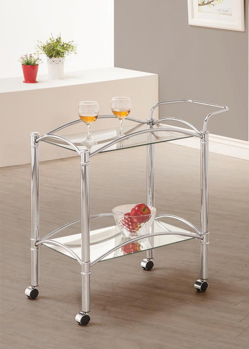 Traditional Chrome and Glass Serving Cart image