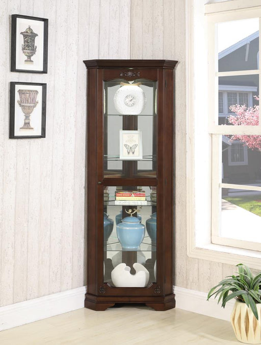 Traditional Golden Brown Curio Cabinet image