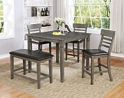 Grey Table & 3 Pub Chairs & 1 Pub Bench (Set)