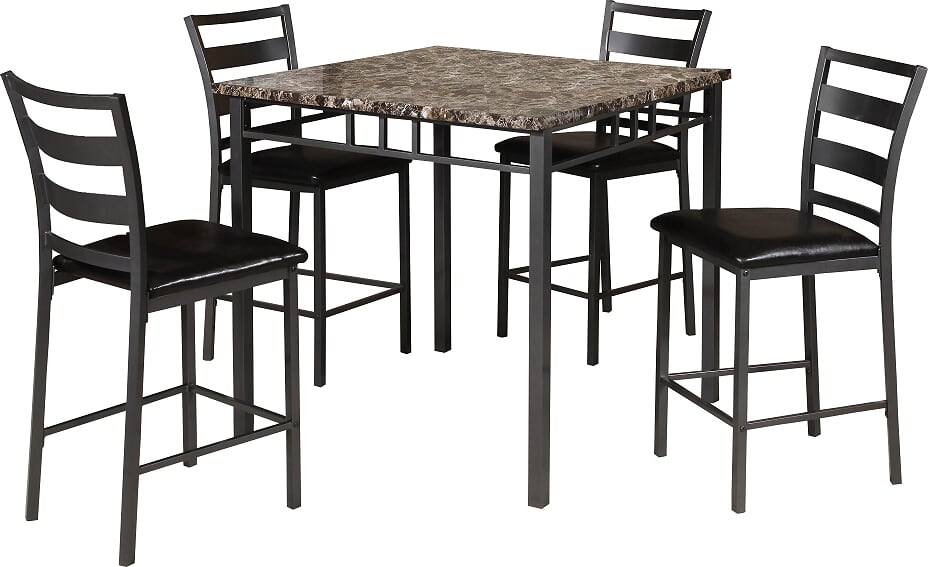 Brown Faux Marble Table with 4 Pub Chairs (Set)
