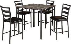 Gray Faux Marble Table with 4 Pub Chairs (Set)