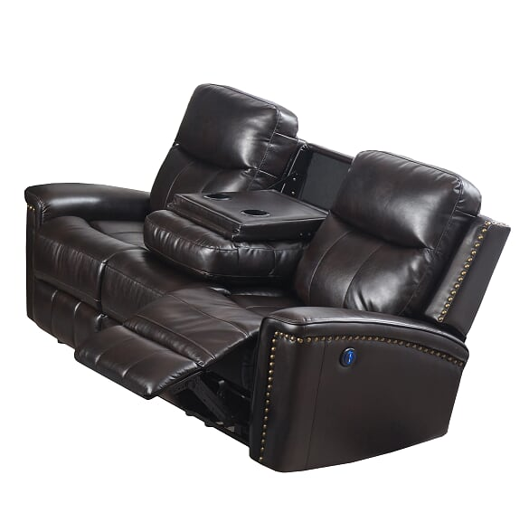 Brown Power Reclining Loveseat w/Console