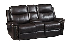 Brown Power Reclining Sofa w/Console