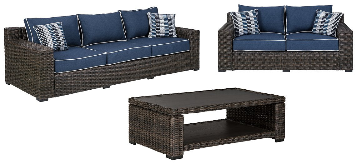 Grasson Lane Signature Design By Ashley 3-Piece Outdoor Sofa and Loveseat with Coffee Table