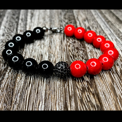 Red Fossil & Black Onyx Bracelet