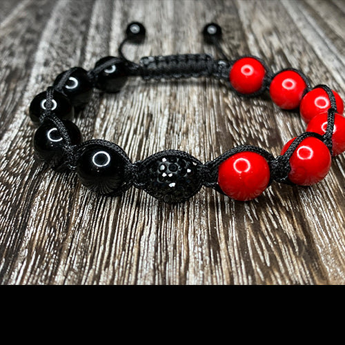 Red Fossil and Black Onyx Shamballa Bracelet