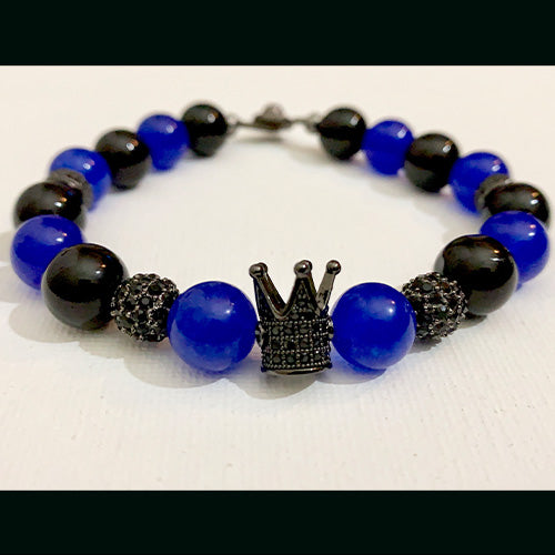 Black Onyx and Blue Jade Crown Bracelet