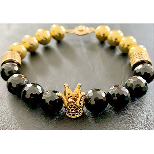 Faceted Black Onyx Crown Bracelet