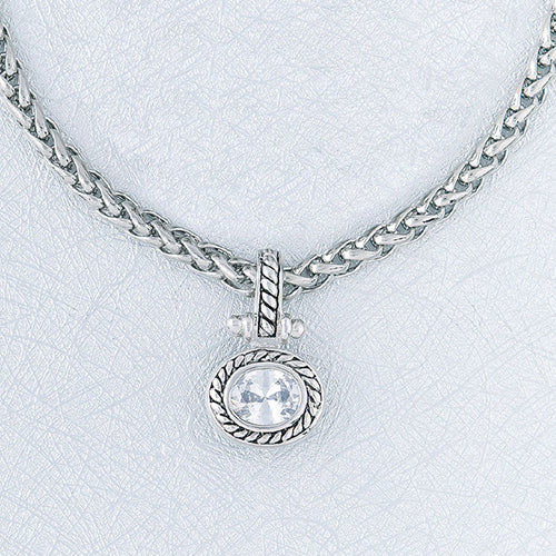 Antique Silver Oblong CZ Pendant Necklace