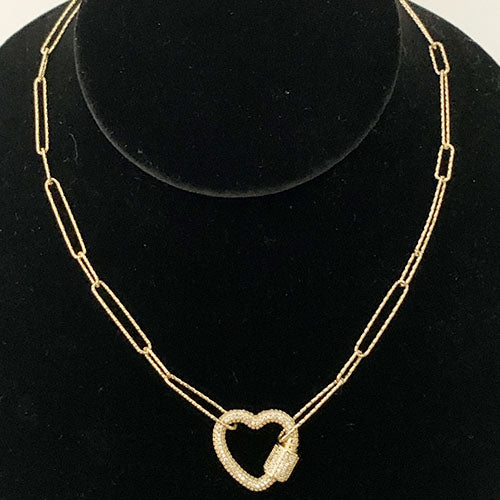 Paper Clip Necklace with Heart Clasp