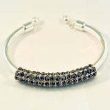 Hematite Crystal Studded Open Bangle