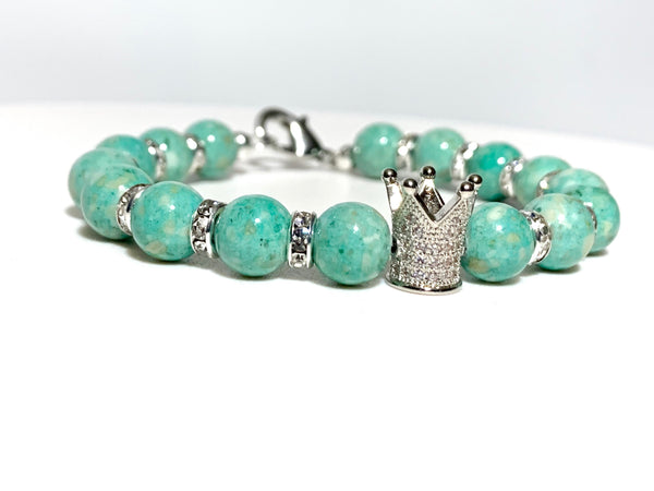 Teal Jasper Crown Bracelet