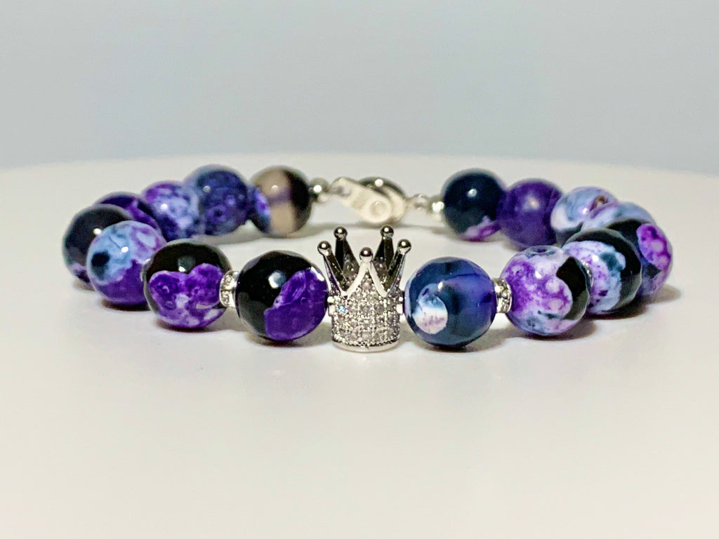 Purple Fire Crackle Agate Crown Bracelet
