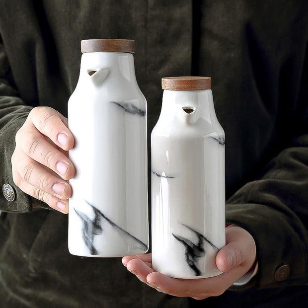 Chava Marble Ceramic Bottle and Shaker Set - Unwindin