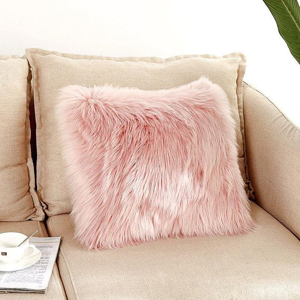 Darlene Faux Fur Throw Pillow Cover - Unwindin