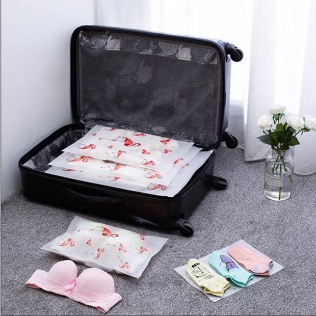 Flamingo Travel Packing Pouches (5-Pcs Set) - Unwindin