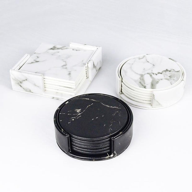 Narveen Marble Faux Leather Coaster Set (6 Pcs) - Unwindin