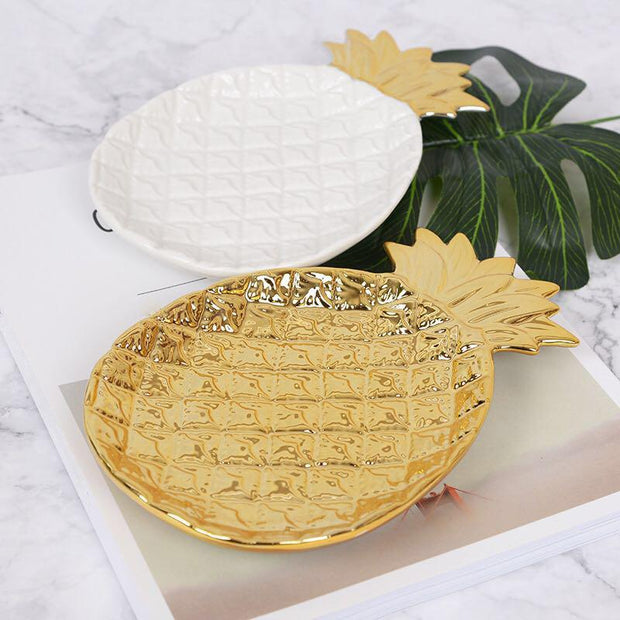 Nolan Pineapple Ceramic Decorative Tray & Saucer - Unwindin