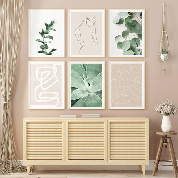 'Nude & Greens' Cotton Canvas Print