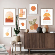 'Burnt Orange Geo' Cotton Canvas Print