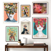 'Vintage Wild Flowers' Portrait Cotton Canvas Print