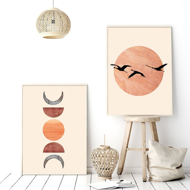 'Burnt Orange Sun & Moon Phases I' Cotton Canvas Print