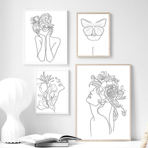 'Floral Story I' Line Art Cotton Canvas Print
