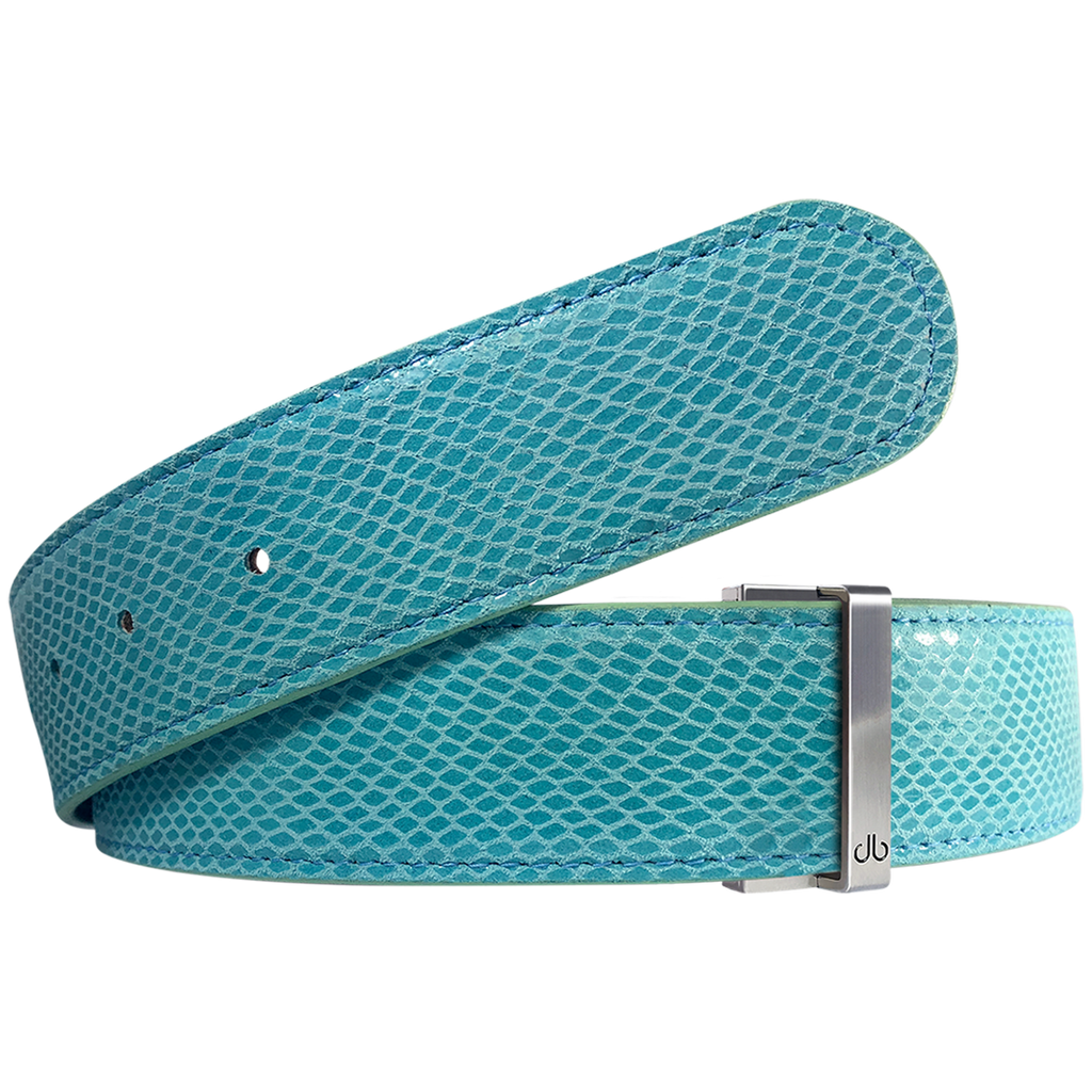 Aqua Snakeskin Leather Belt