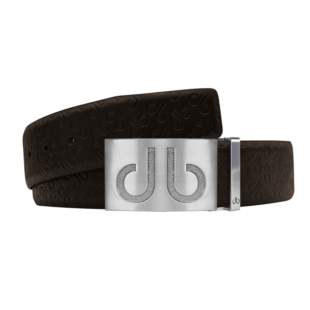 Brown Db Icon Pattern Embossed Leather Belt With Silver Druh Db Classic Buckle