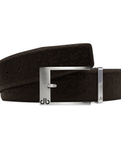 Brown Db Icon Pattern Embossed Leather Belt With Silver Classic Prong Buckle